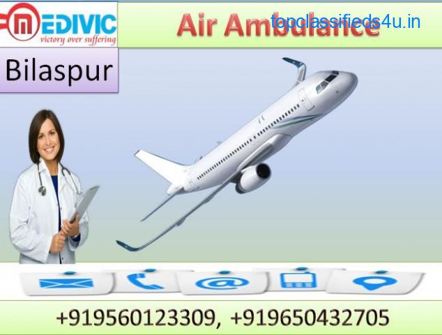 Book Top Air Ambulance Service in Bilaspur by Medivic Aviation at Reasonable Cost