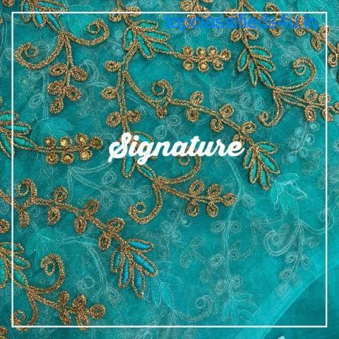Buy Turquoise Blue Organza Fabric  With Stylish Golden Thread Work at SIGNATURE Groom and Bride