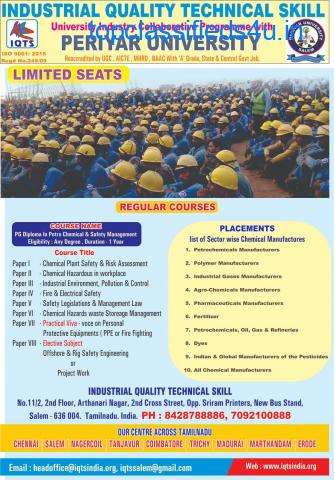 PG Diploma Petro chemical and Safety Management in salem