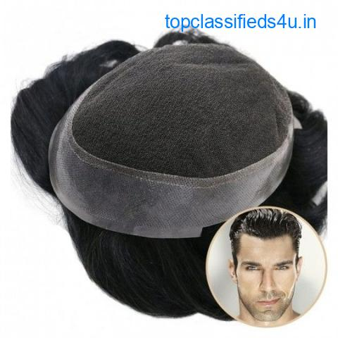 Crius Men's Half Wig French Lace in Center with Polyskin All Around
